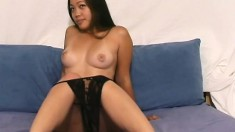 Enchanting babe with perky tits Cathy Anne displays her delicious cunt