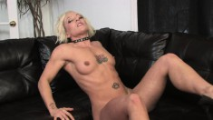 Desirable Denise peels off her lingerie and fingers herself to orgasm