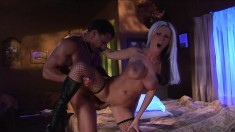 Nikki Benz wears only stockings while getting roughly pounded