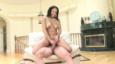 Aliana Love sets her big boobs free, rubs her pussy and strokes a cock