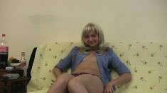 Cock starving blonde Valeria uses a bottle to please her aching snatch