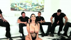Big tit Ava Addams is in her first gangbang and getting hammered