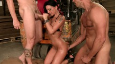 Luscious babe with amazing big boobs gets drilled deep by two studs