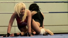 Liz and Karlie Simon grapple on the mat naked and get all wet and horny
