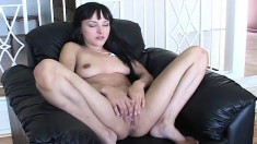 Young interracial lesbians make each other cum and share a stiff dick