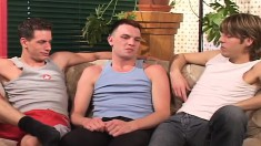 Pretty young boy hooks up with two sexy gay studs for a wild threesome