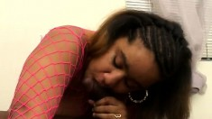 Chunky black slut with a big booty releases her juices on a dark pole