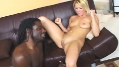 Blonde cutie Brittany works her pussy on every hard inch of black meat