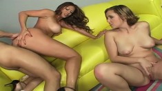 Lucky guy Talon has a trio of insatiable ladies sharing his hard dick