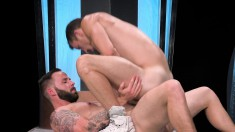 Bearded young guy shoves his tongue up his lover's tight cumhole