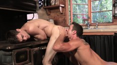 Two boys relishing a frenzy of hardcore anal sex and intense orgasms