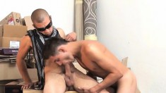 Bearded dude makes his boytoy shave his white butt before fucking