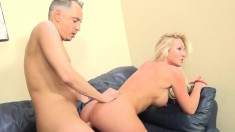 Tattooed blonde with big hooters Alexis Malone blows and fucks a cock