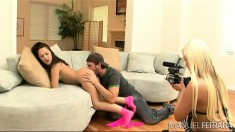 Two babes are macking on one dude and get his rod up their ass