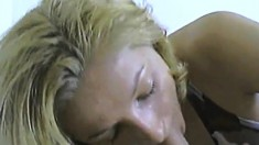 Girl gets a mouthful and sucks on dick
