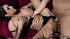 Eva has him sliding every inch of his cock deep in her pussy and she fully enjoys it