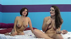 Eden Young is naked on the with her vibrator, joining her is Krissy Lynn