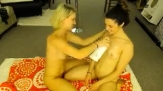 Brunette lusty lesbian sucking her GFs small soft boobs