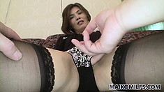 Asian Milf poses and gets undressed while he licks and fingers