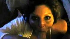 Brunette mature amateur takes huge dick POV in bed