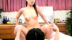 Excited Japanese hoe gets her hairy twat opened and fucked gently