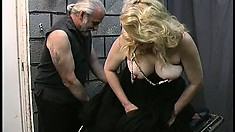 Chubby blonde bitch gets her nipples and clit clamped by her master