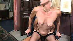 He fills her lustful mouth with his huge cock before the hot mature wildly rides him