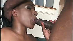 Busty ebony babe Jackeline spreads her legs to take that black cock deep in her cunt