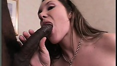 Delightful brunette with big round tits Bianca is longing for a huge black cock