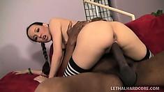 Young Amai Liu deepthroats an enormous cock and gets drilled hard
