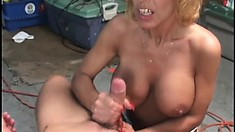 Mature blonde in white lingerie gets banged by Sammie Sparks