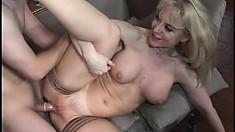 Horny MILF Nina Hartley swallows a cock and gets drilled hard