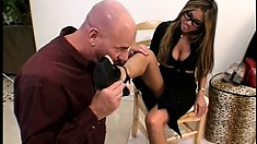 Lucky dude has two babes into foot fetishes and gets royally taken care of