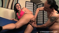 Sensual brunette with a perfect body Ashli Orion has a stiff cock pounding her ass