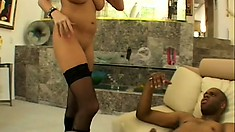 Insatiable blonde needs a huge black prick stretching her tight holes