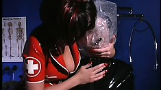 Horny patient is desperate to get punished by sexy nurses in latex
