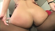 Exotic babe with a wonderful booty has a huge black cock stretching her tight cunt