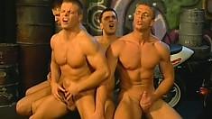 Four rough biker dudes meet up in an alley for a secret gay orgy