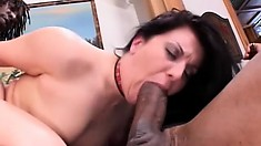 Two black muscular beef cakes spit roast sexy brunette Renee