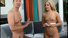 Blond babe gets fucked in her sweet ass then swallows his cum
