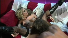 Seductive blonde in black stockings gets her pussy licked and fucked