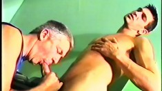 Sexy young stud pounds the dirty old man's tight butt hole deep