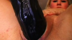 Petite blonde chick has a nasty desire for giant toys and dicks