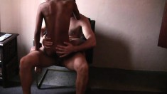 Ebony prostitute is taking huge dick into her wet and tasty cunt