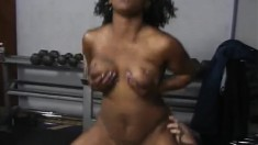 Busty black bitch sits on a cock with her big phat black ass